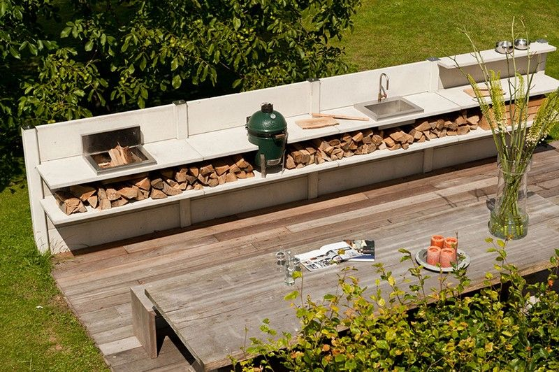 Brennholz-lagern-draussen-lagern-Outdoor-Kueche Garten Pinterest - küche aus paletten