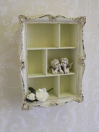 Cream shabby wall shelf unit distressed vintage chic storage ornate bedroom | eBay