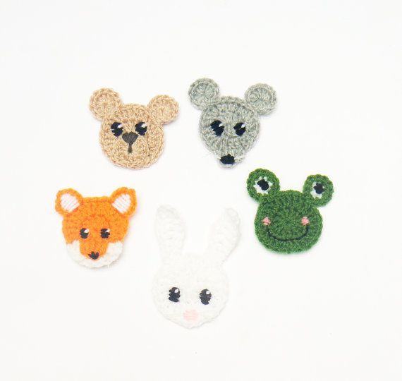 Crochet Animals, Set of 5pcs, Woodland Animals, Crochet Applique ...