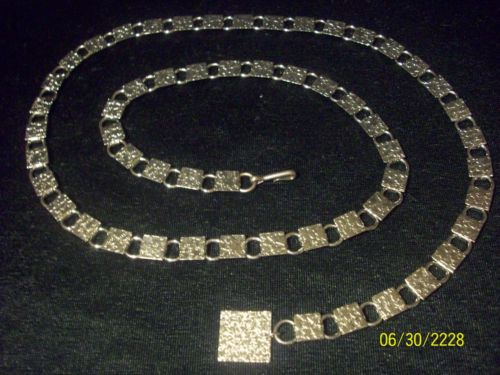 "Vintage Silver Tn Adjustable Textured Squares Chain Link Metal Belt Up Tn 35"" Eowyn Belt? ($11.99- 24.99)"