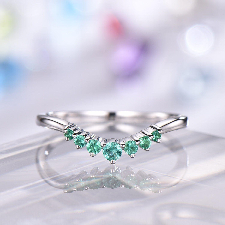 Curved Emerald Diamond Wedding Band White Gold Women