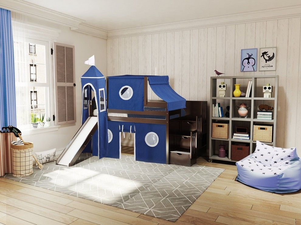 Jackpot Castle Twin Low Loft Cherry Stairway Bed, Blue and