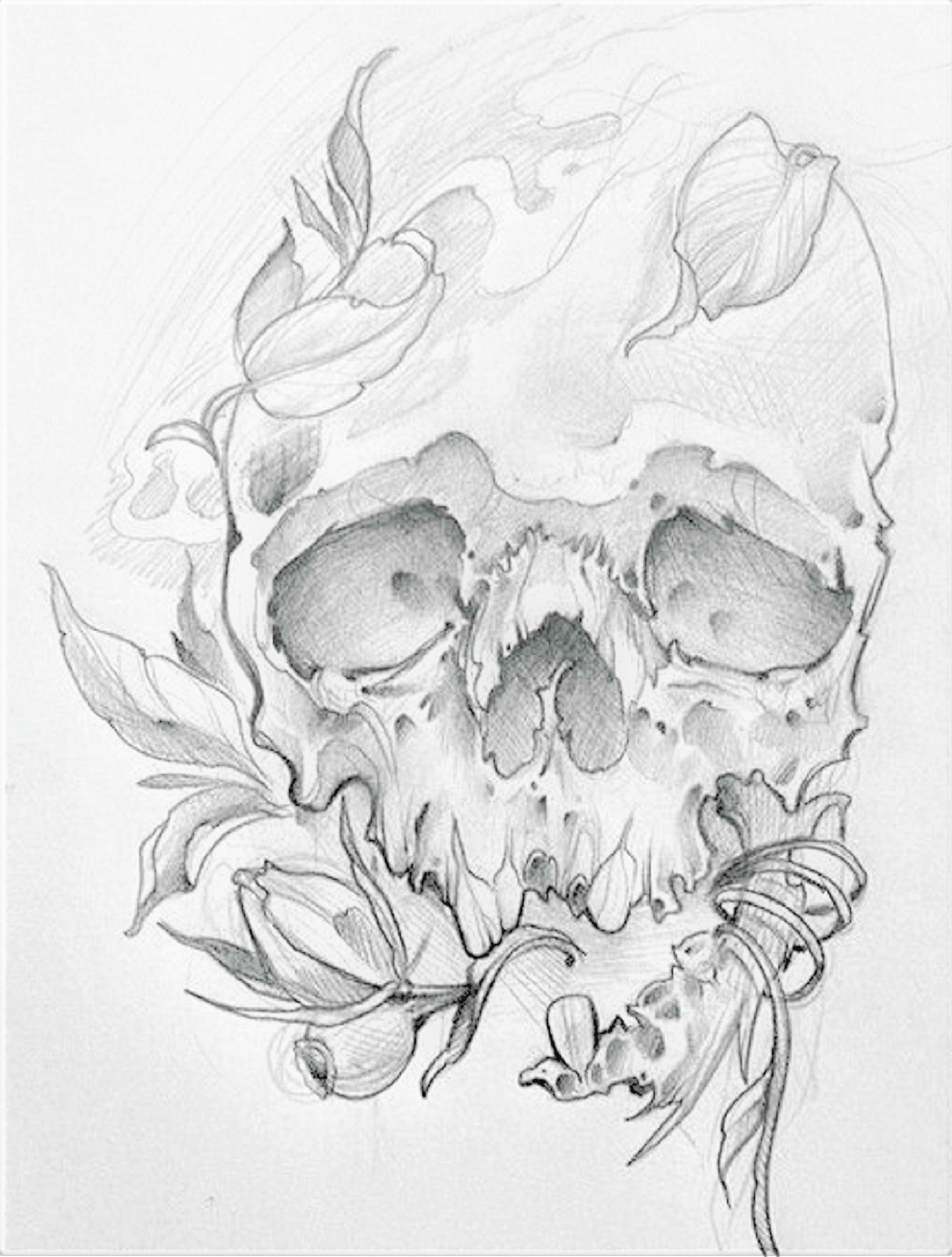Skull Jaw Tattoo: Skull With Broken Jaw & Foliage #1
