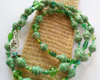 Pulsera pulsera de bolas de papel verde oliva papel grano