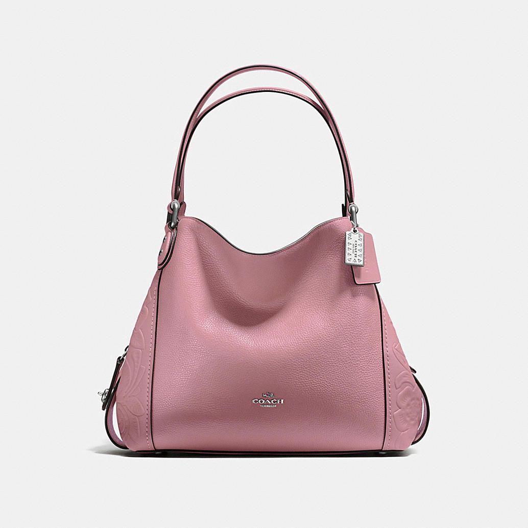 COACH  Edie Shoulder Bag 31 in Glovetanned Leather With Tea Rose Tooling 20f102dbbfec2
