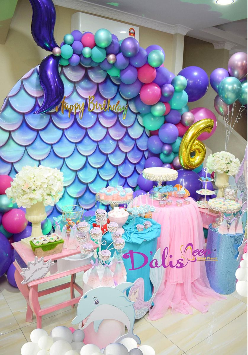 Birthday Mermaid In 2021 Candy Buffet Birthday Party Birthday Party Decorations Balloon Garland