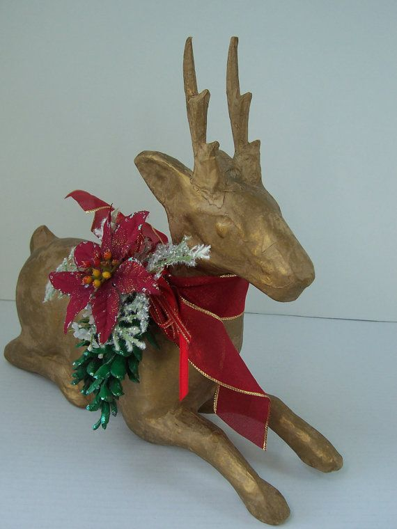 Paper Mache Ideas For Home Decor Part - 38: Large Hand Painted Gold Paper Mache Reindeer U0026 Pine Cone Spay Holiday  Centerpiece Decoration Seasonal Home