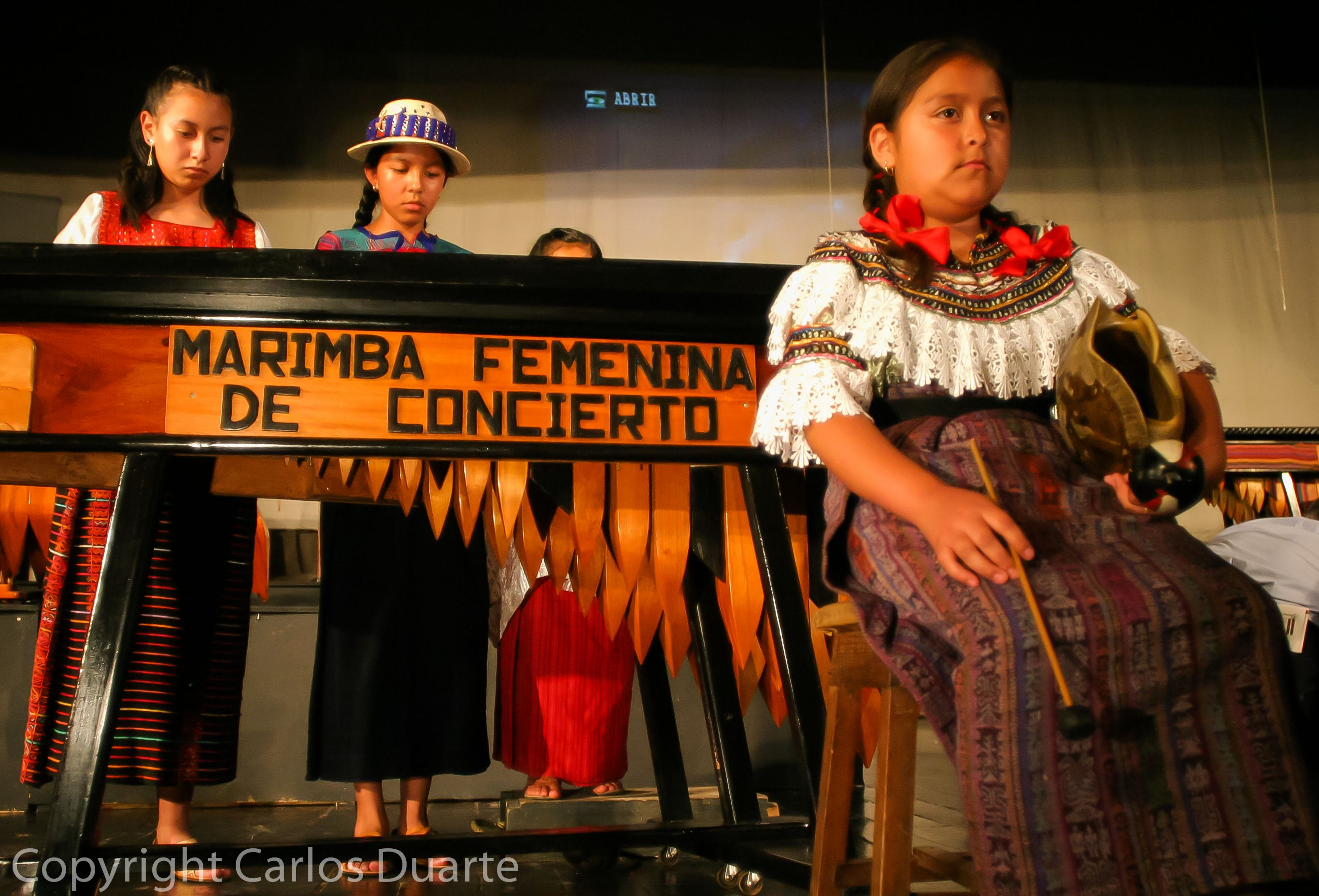 A group of girls play the Marimba during an all women´s concert of the National Instrument in a Local Theather in Guatemala City.