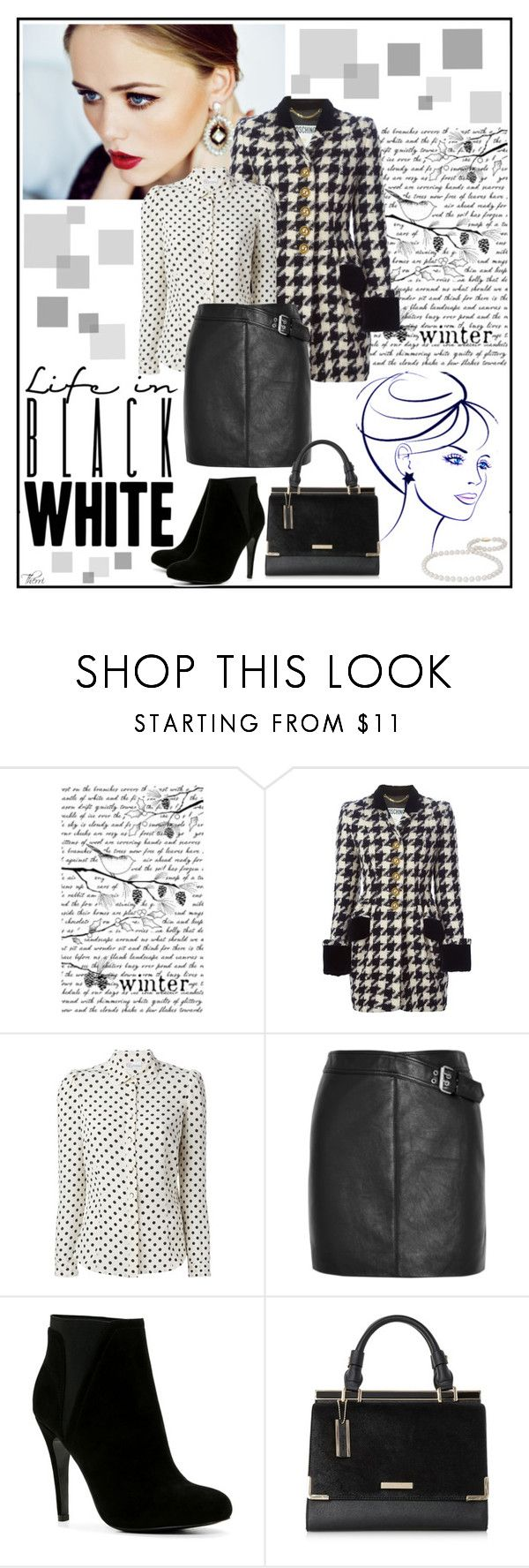 """classic in b&w"" by paris-therri ❤ liked on Polyvore featuring Moschino, RED Valentino, Yves Saint Laurent, ALDO and Blue Nile"