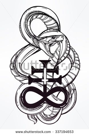 Vintage Tattoo Art Highly Detailed Hand Drawn Snake With Satanic