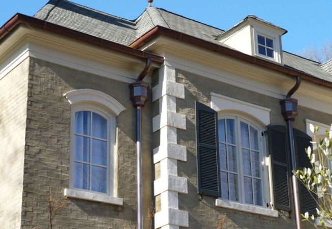 European Half Round Copper Gutter System All Phase Exteriors Copper Gutters House Front House Styles