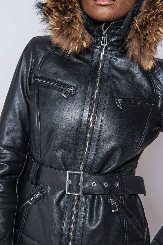 f6e265944a06 Doudoune en cuir avec ceinture à boucle - modèle Isobel   LEATHER ...