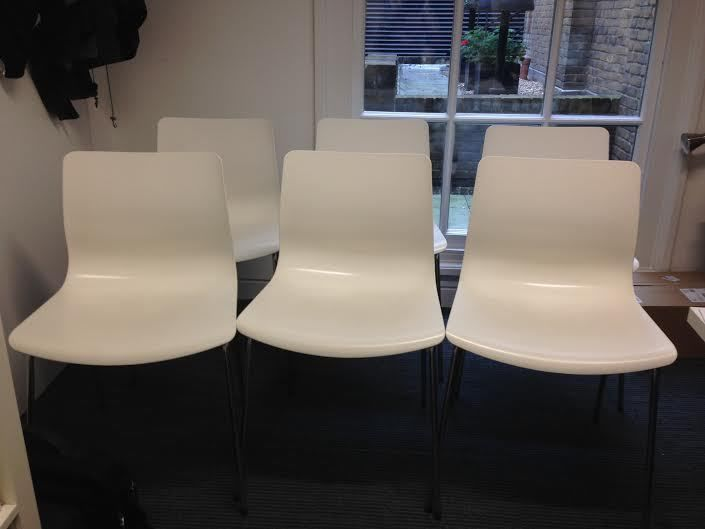 White Chairs X 6 Ikea Erland In Excellent Condition 163