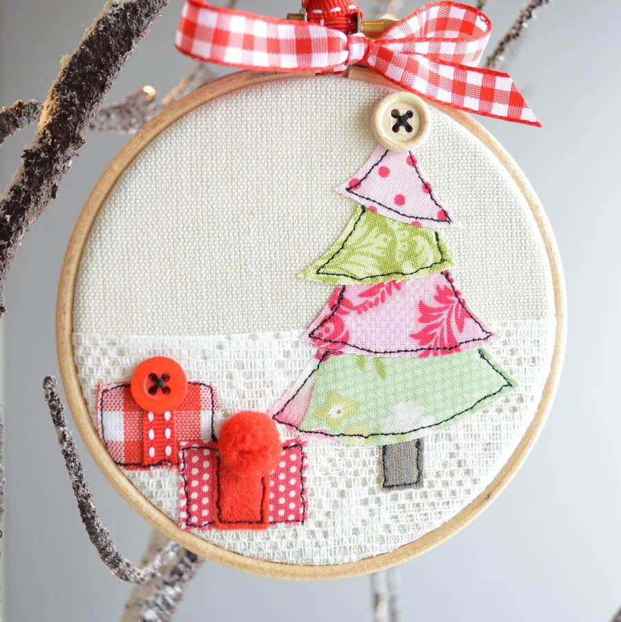 Embroidery Hoop Christmas Tree Bauble Embroidery Hoop Crafts Christmas Embroidery Christmas Fabric