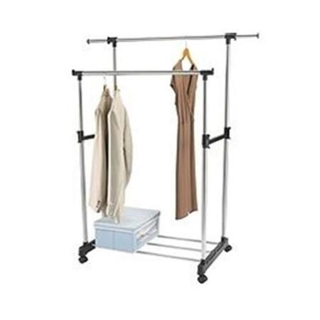 Walmart Clothes Hanger Rack Interesting Cool Living Stainless Steel Adjustable Double Rail Rolling Garment Review
