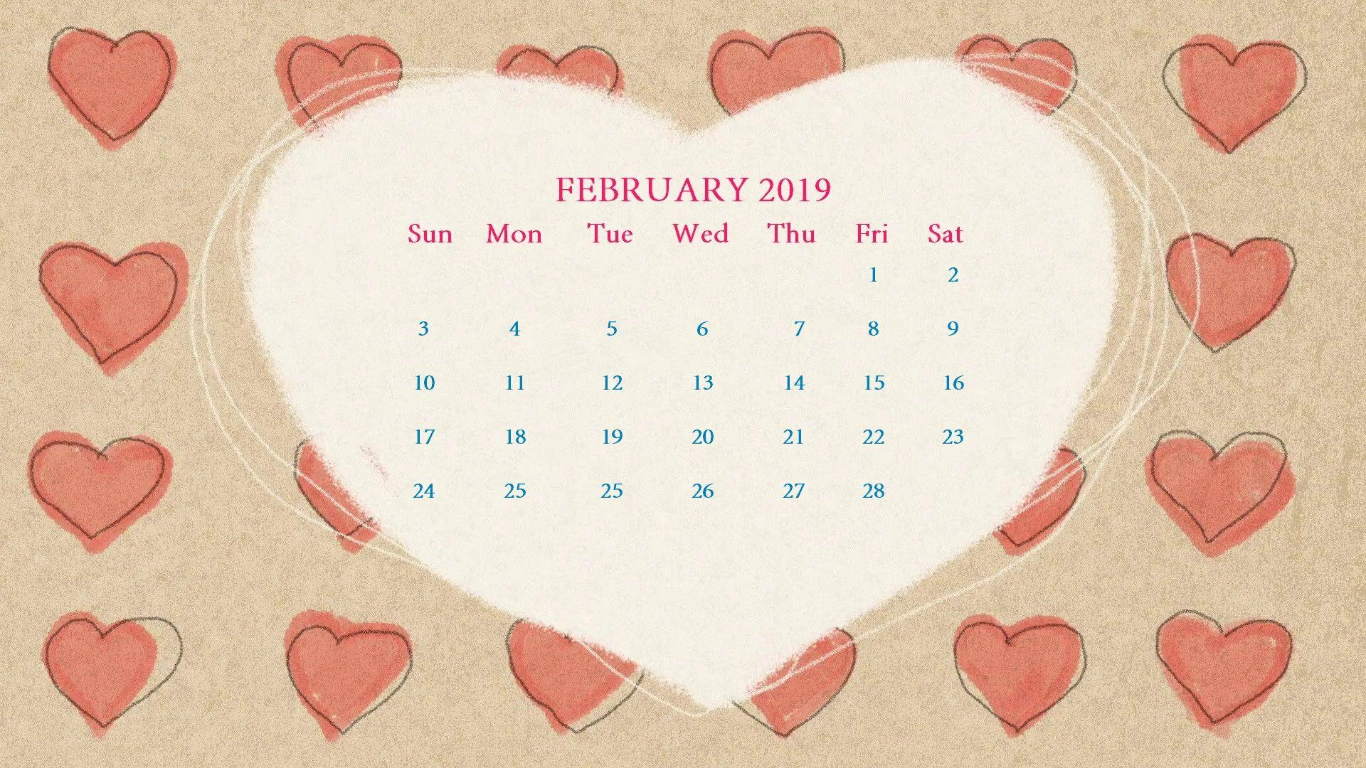 Calendar February 2019 Valentine February 2019 Love Design Wallpaper Calendar Valentines Day Theme
