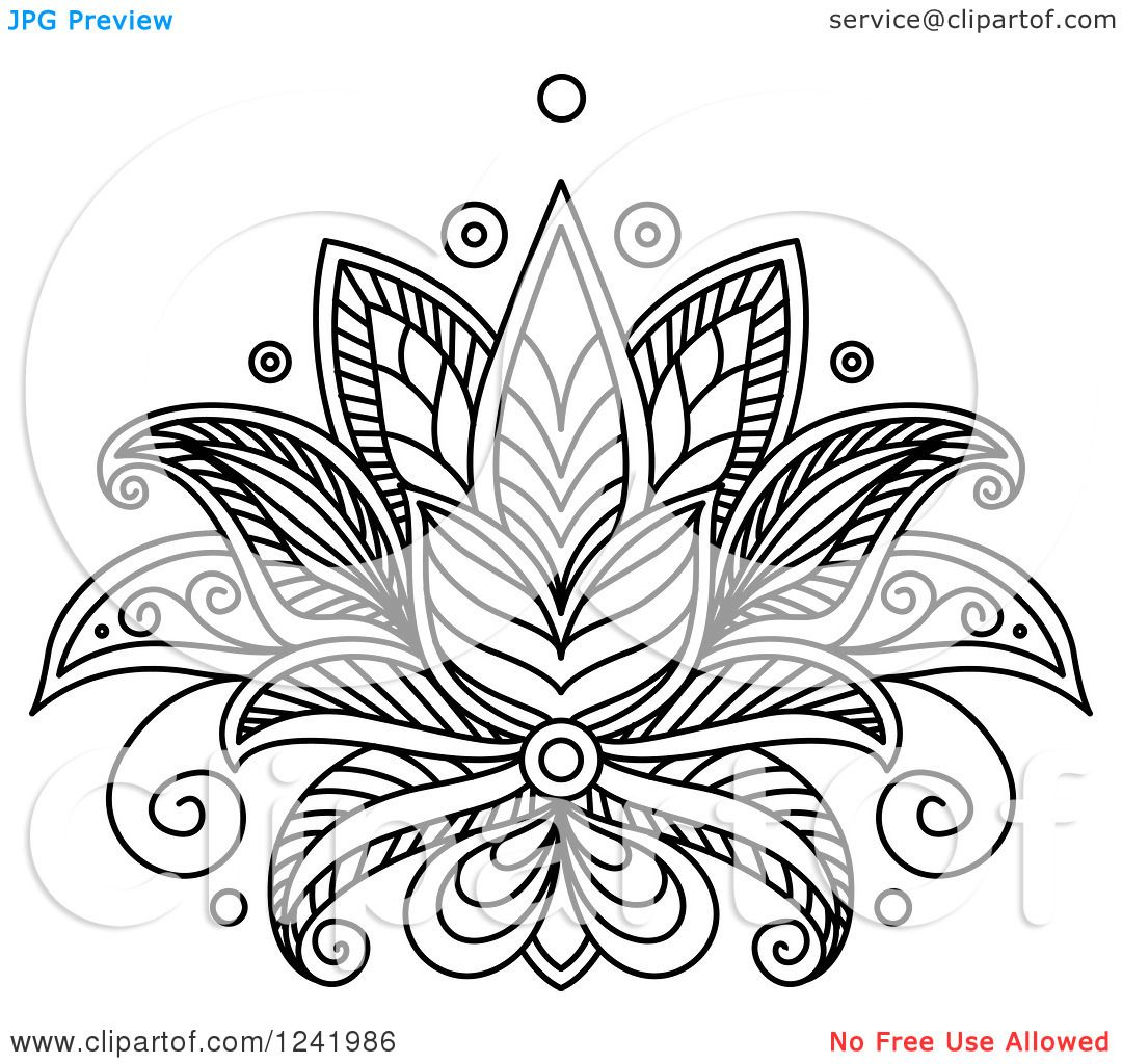 Lotus Flower Henna Designs Clipart of a Black and White