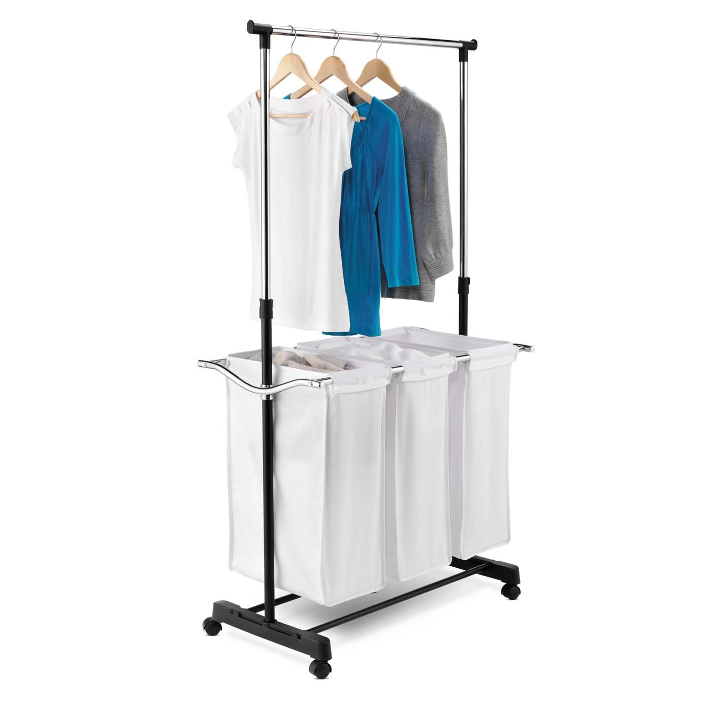 The Triple Sorter Laundry Center With Hanging Bar Is A Must Have