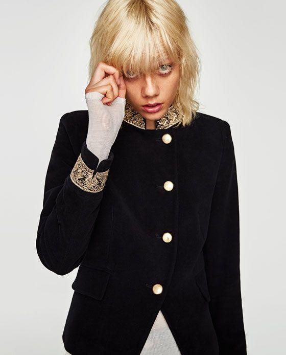 Veste Clothes Access En Zara amp; Velours De Elle Avec Passementerie rYrqTwa8