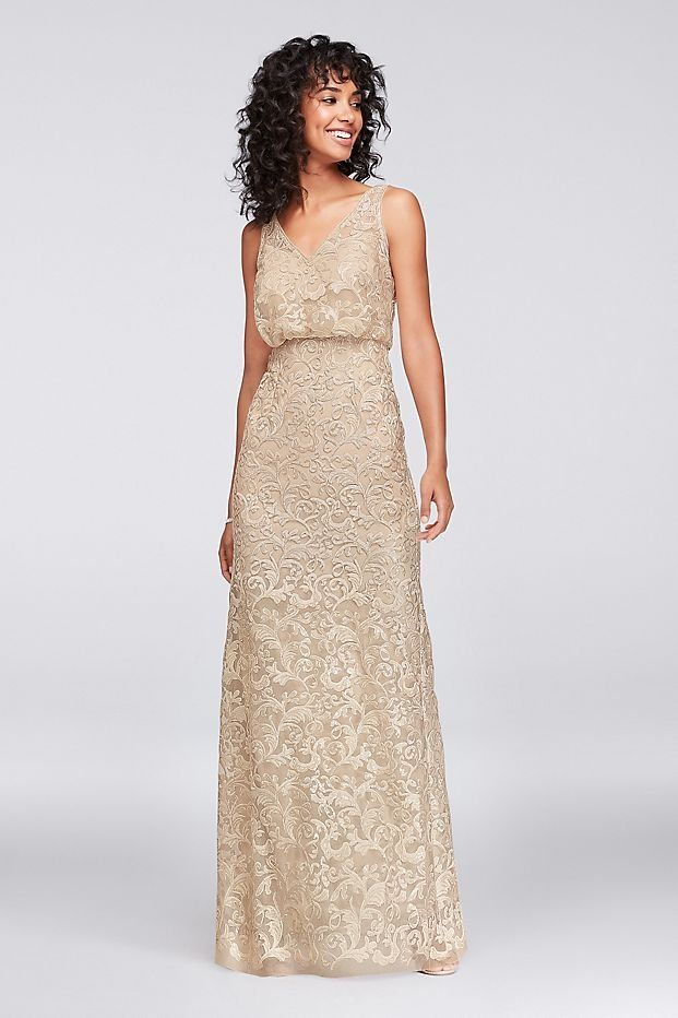 9ef949a4 A dash of gold for a glamorous wedding | V-Neck Sequin Blouson Bridesmaid  Dress by Reverie available at David's Bridal