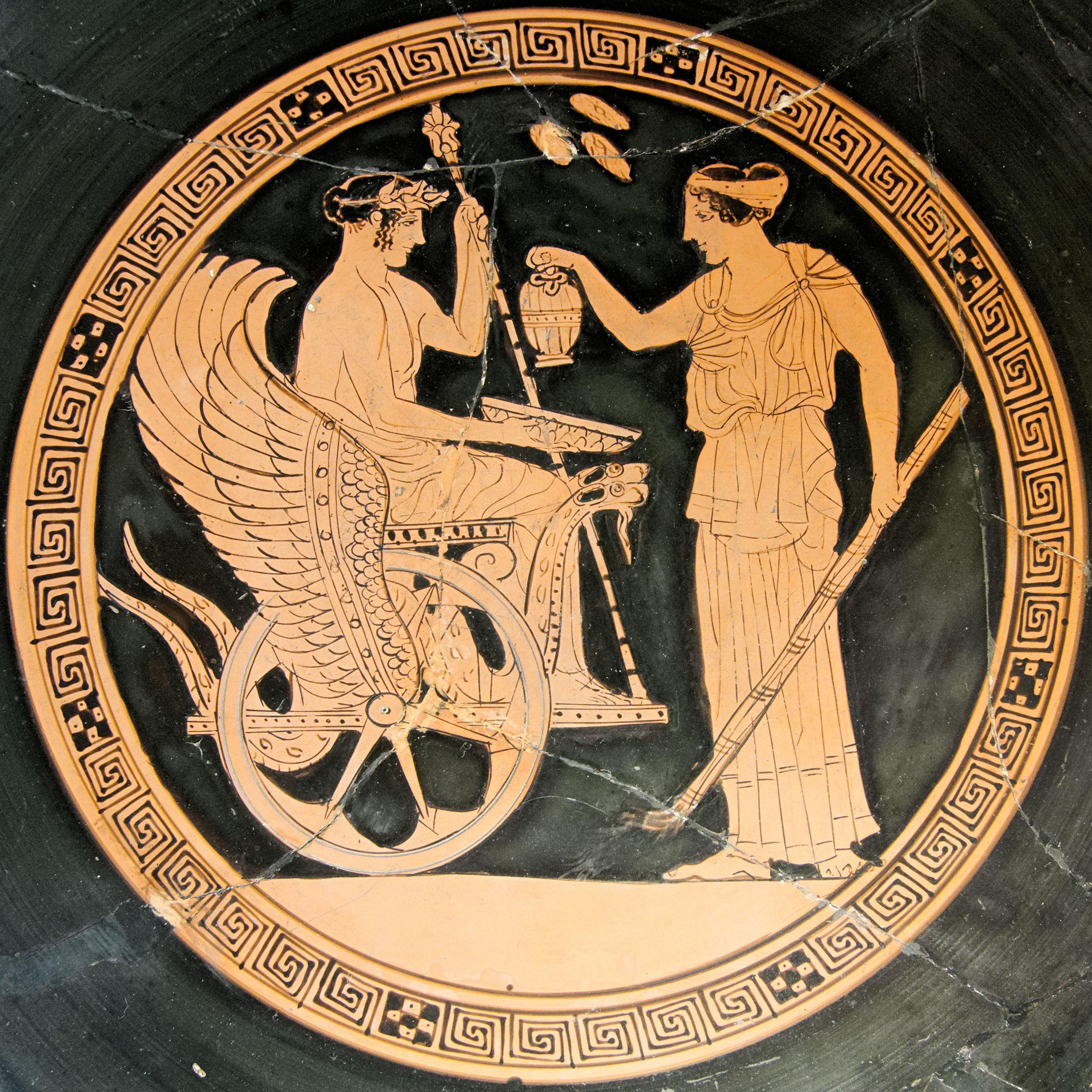 Triptolemus And Kore Tondo Of A Red Figure Attic Cup Classic Period Musee Du Louvre Ancient Greek Art Greek Art Ancient Art