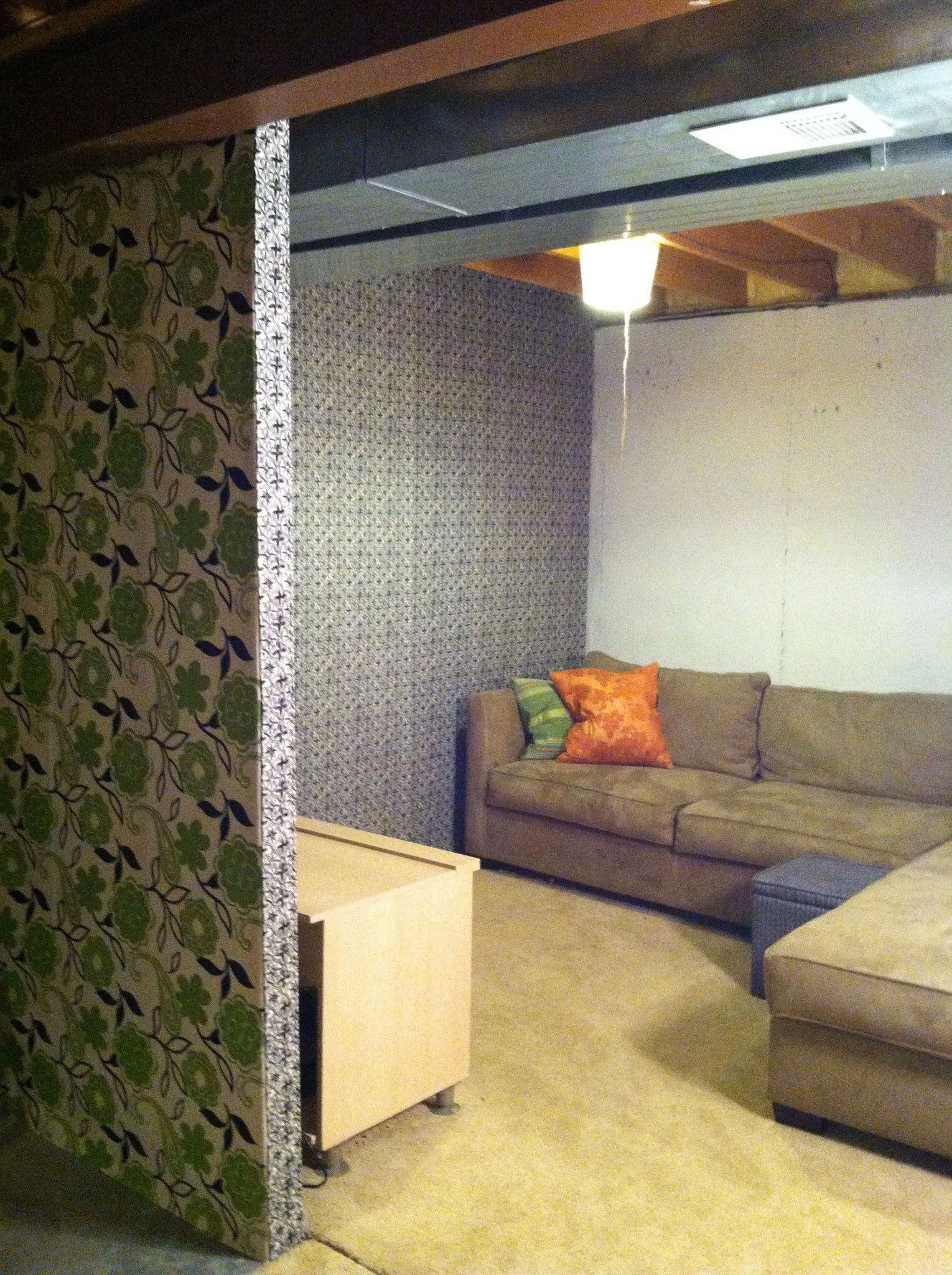 Nice Unfinished Basement Redo With Fabric And Staple Gun. EASY!! Storage Is  Hidden And