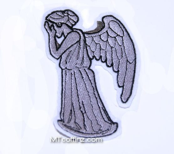 Grey Weeping Angel Iron On Embroidery Patch MTCoffinz ...