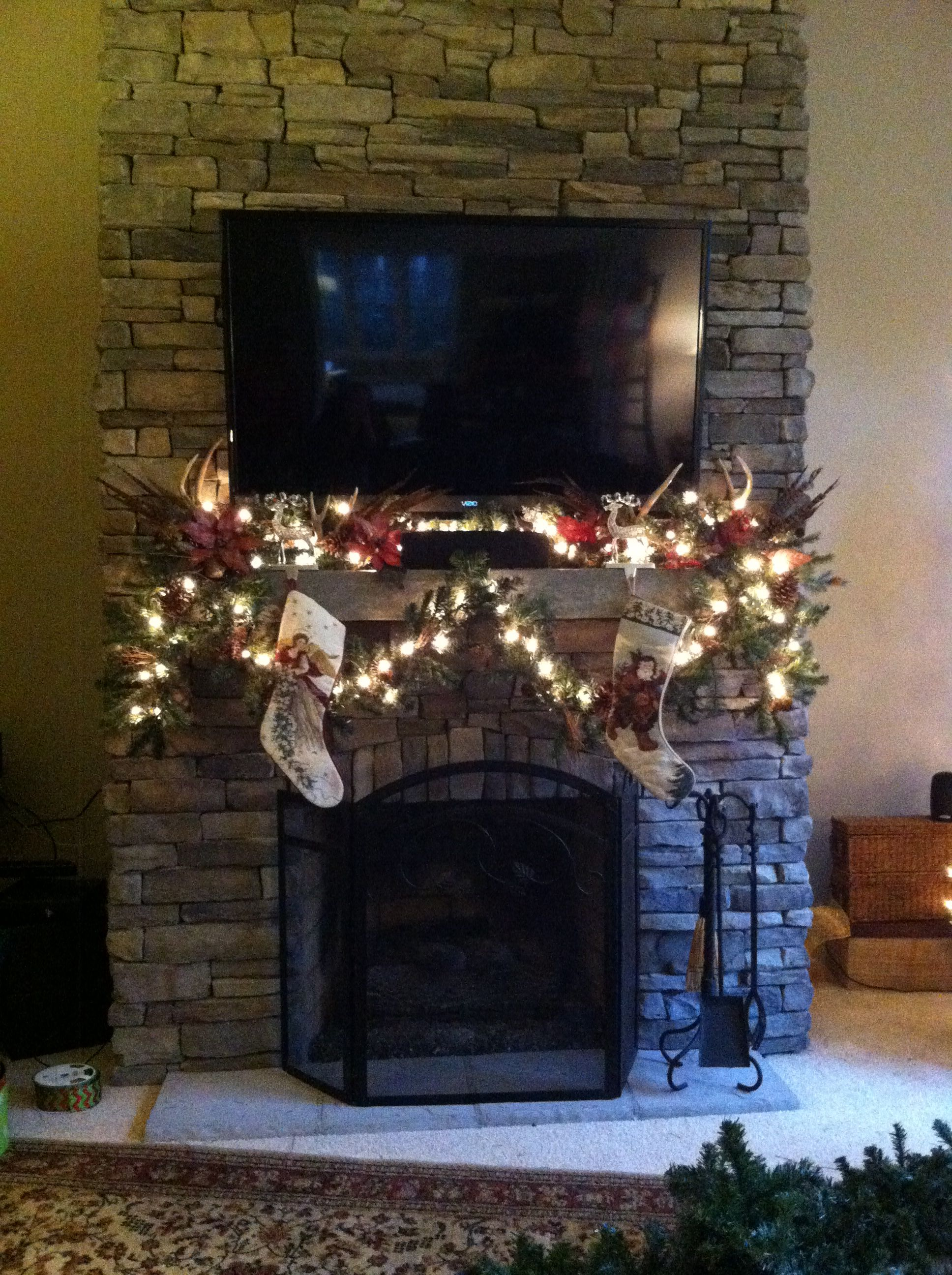 Christmas mantle with TV