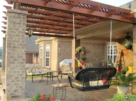 Pergola Design with brick columns. - Pergola Design With Brick Columns. Out Door Living Pinterest