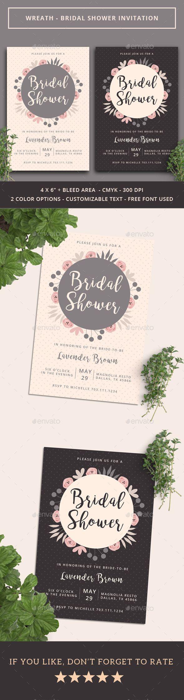 Wreath Bridal Shower Invitation u2014 Photoshop PSD