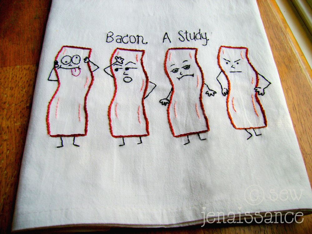 Embroidery PDF Pattern Emo Bacon Kitchen Tea Towel Design | Towel ...