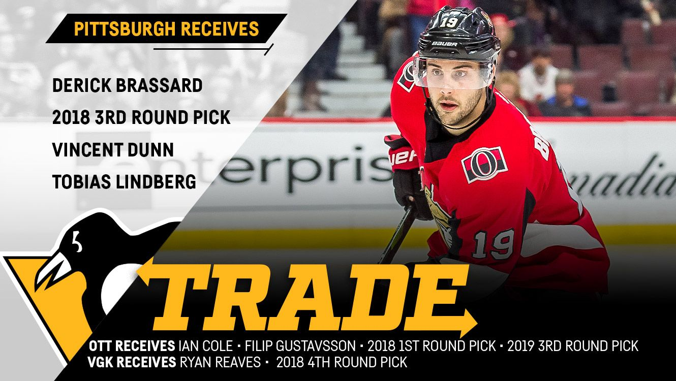 on sale 1366f 56a72 Penguins Acquire Derick Brassard in Three-Team Trade with ...