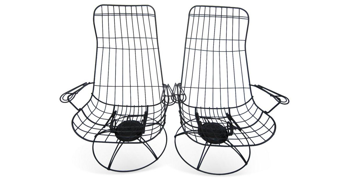 """1960s Kagen-style iron swivel chairs with bouncy seats. Seats, 15""""H."""