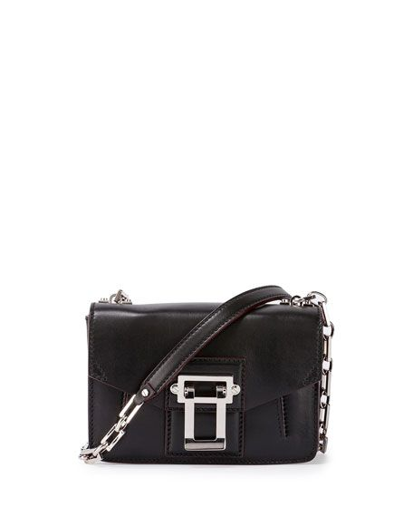 Hava Smooth Leather Crossbody Bag, Black