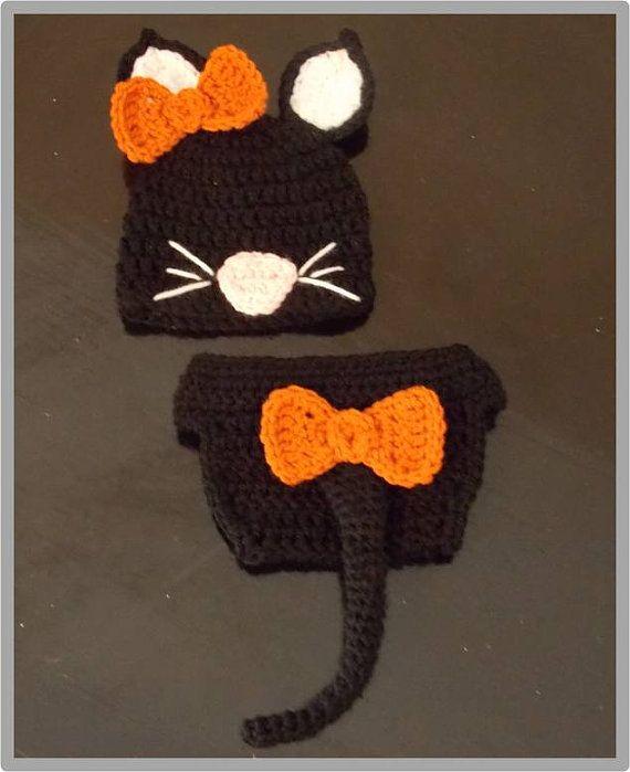 Crocheted Newborn Cat Hat & Diaper Cover Pattern ... Instant ...