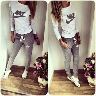 jumpsuit nike white grey sporty fitness tracksuit set  727098819484