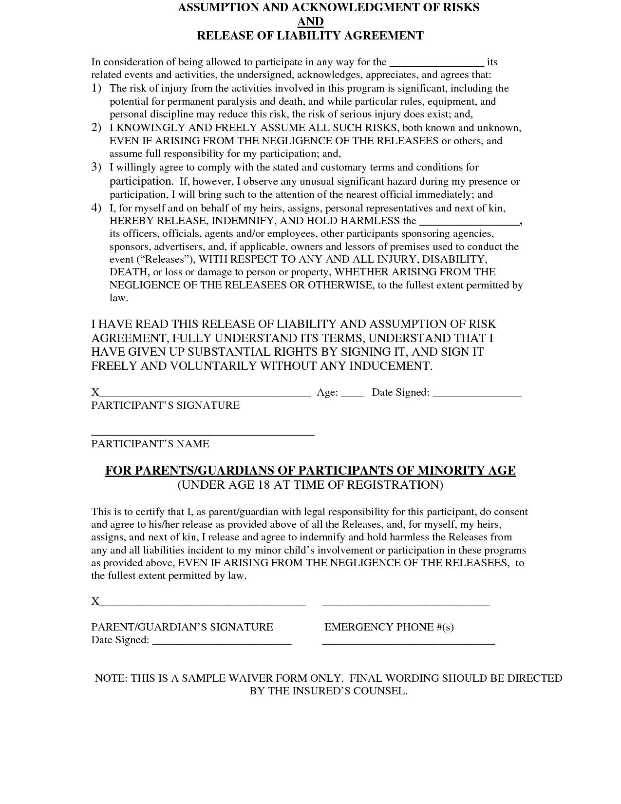 Event Liability Form By Imb  Tomsplans  Liability Release