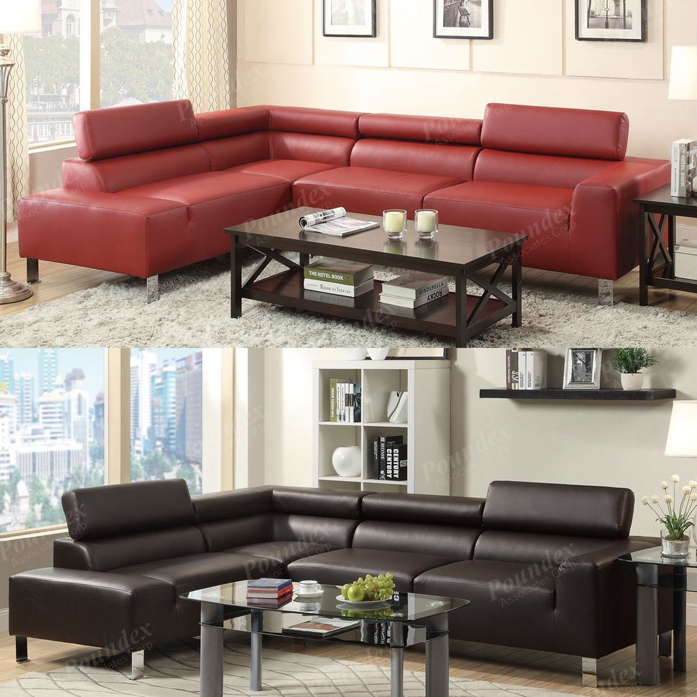 Details About 2 Pieces Burgundy Espresso Bonded Leather Adjustable Headrest Sectional Sofa Furniture Sectional Sofa Bonded Leather Sofa