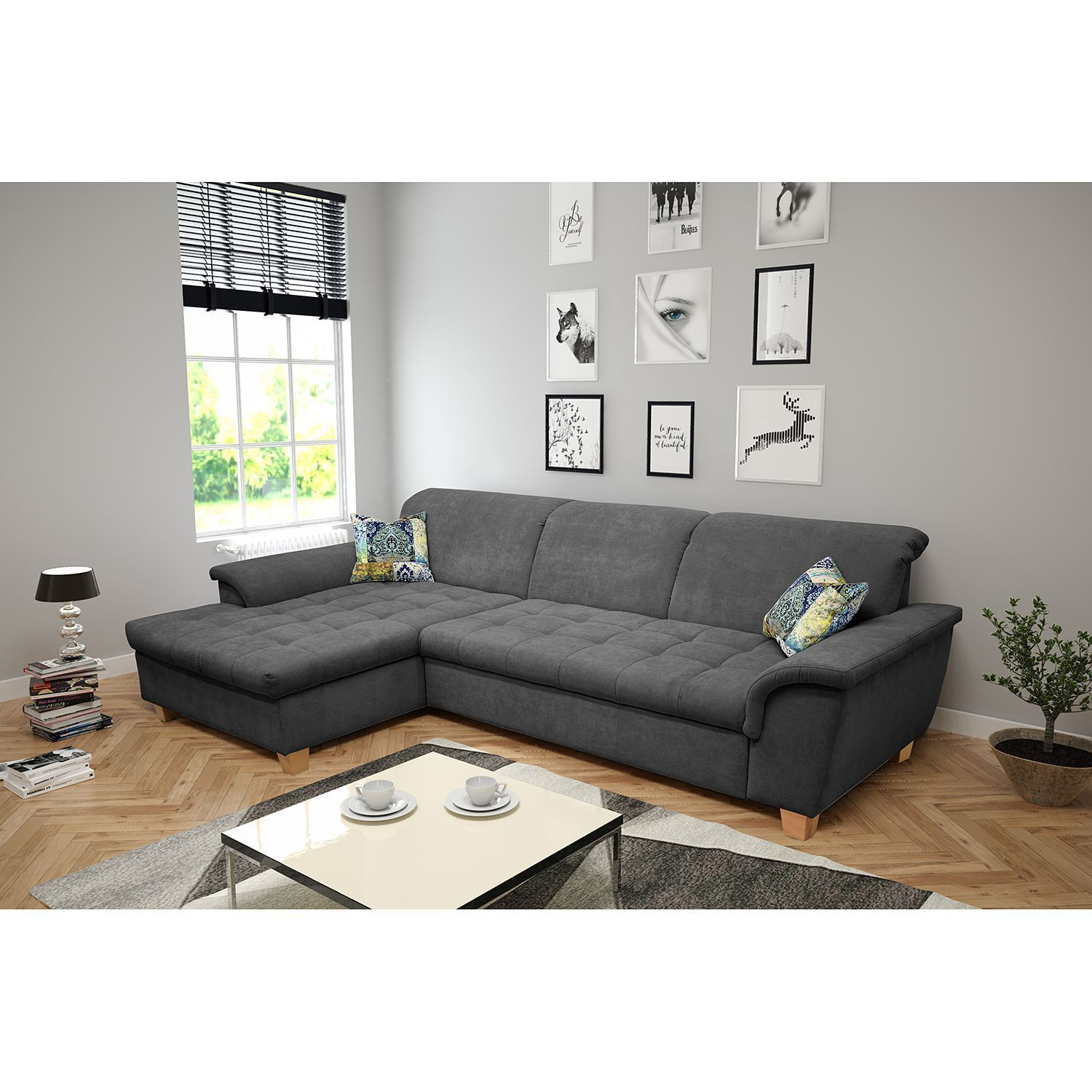 Ars Natura Ecksofa Charlo 2 Sitzer Grau Microfaser 279x81x164 Cm Mit Schlaffunktion Und Bettkasten In 2020 Furniture Design Living Room Upholstered Furniture Furniture