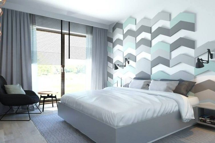 Perfekt Schlafzimmer Blau Mit 3d Wand Aus 3d Paneelen Blau Für Kreative  Wandgestaltung Und Farbgestaltung Schlafzimmer