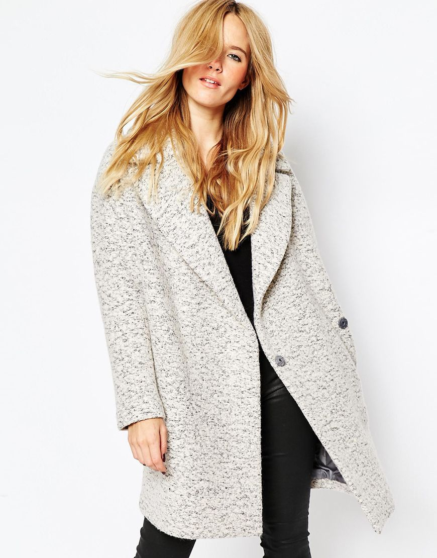 ASOS Coat in Cocoon Fit and Textured Wool