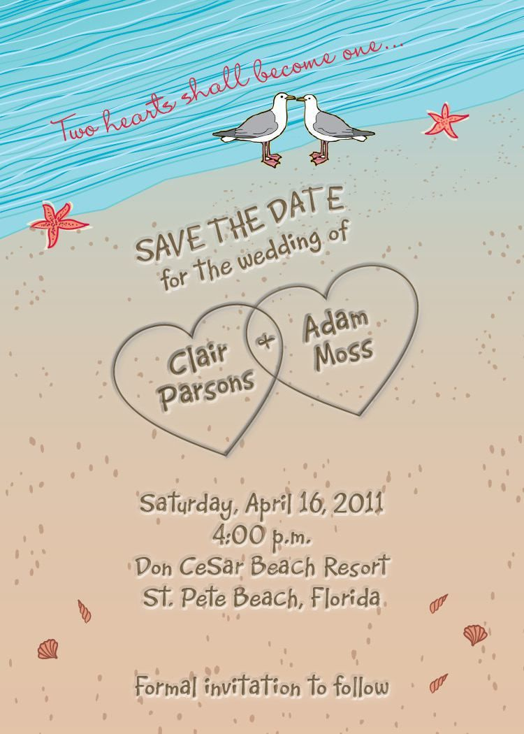 Beach Wedding Invitation Wording Sle Superb: Beach Themed Wedding Invitations At Websimilar.org