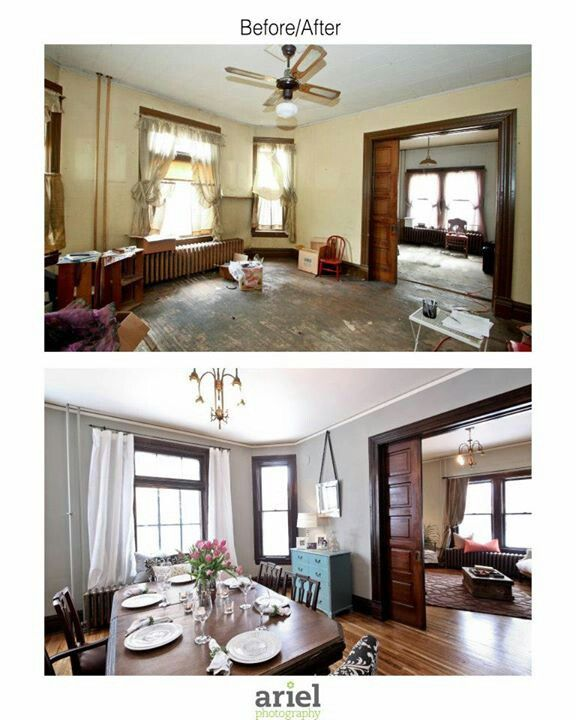 Rehab This Actually Shows A Dark Wood Trim With Kind Of Multicolor Wood Floors Old Home Renovation Home Remodeling Restoring Old Houses #wood #trim #living #room