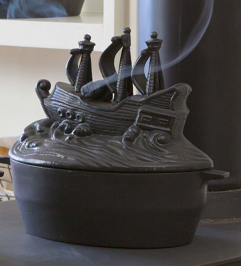 Cast Iron Pirate Ship Wood Stove Steamer Fireplaces
