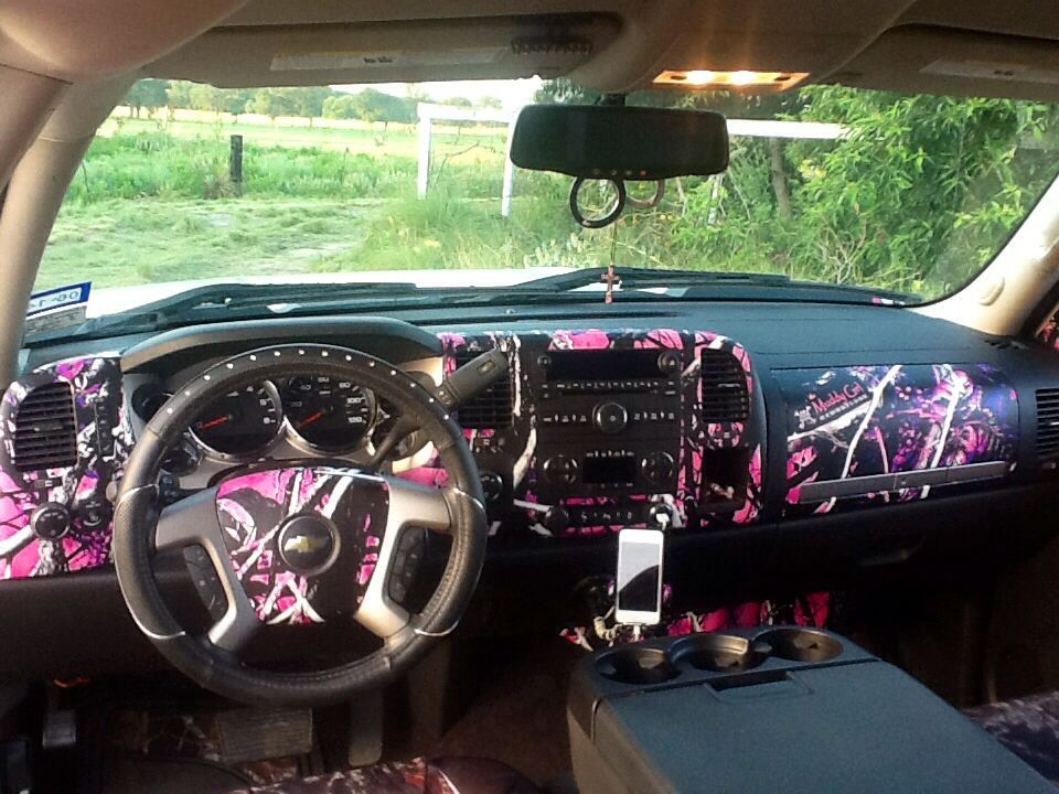The Interior Of My 2013 Chevy 4wd Silverado Muddy Girl All The Way Car Accessories Car Accessories For Girls Camo Truck Accessories