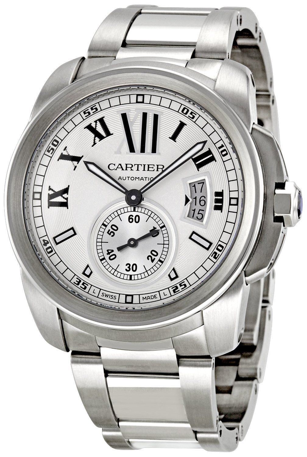 cartier w7100015 calibre de cartier watch cartier men s calibre de cartier silver opaline dial watch features case material stainless steel bracelet material stainless steel