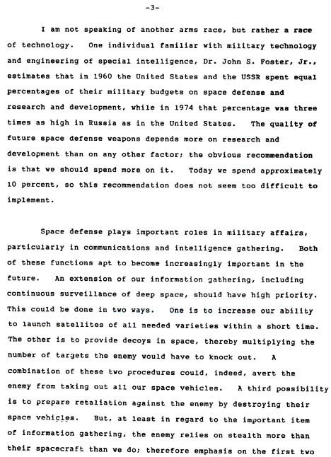 Edward Teller's memo to President Reagan requesting approval for Strategic Defense Initiative.  3 of 5.  Earthfiles.com