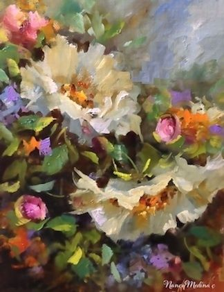 Coronado Island Color ~ White Roses by Nancy Medina Oil ~ 14 x 11