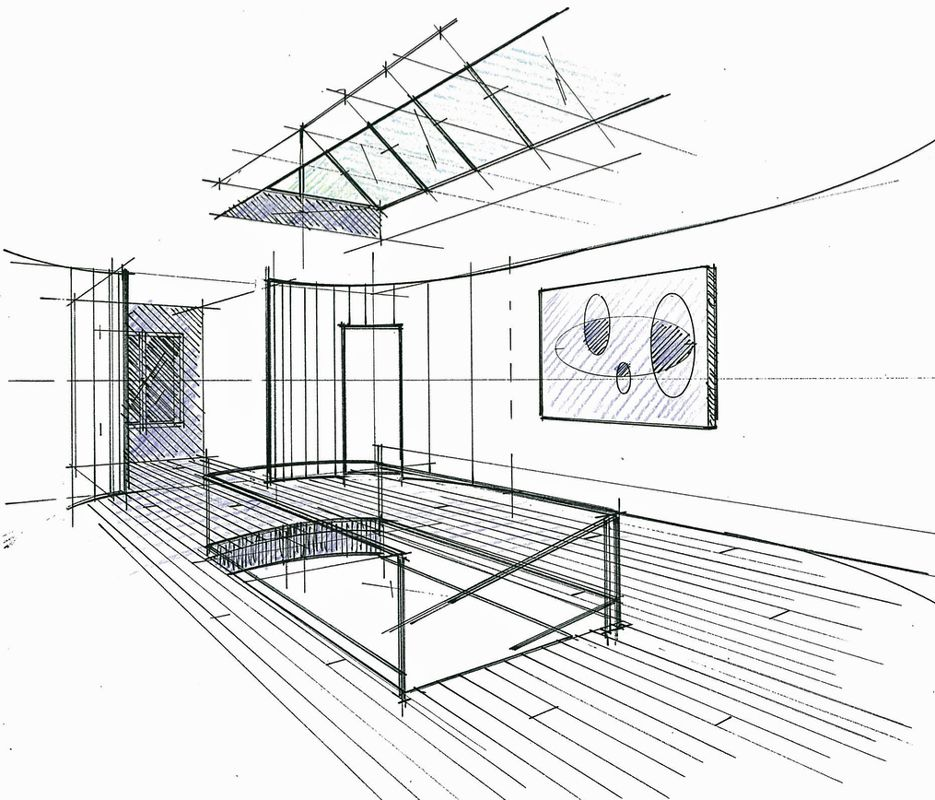 croquis du palier d 39 un h tel particulier maisons laffite philippe ponceblanc architecte d. Black Bedroom Furniture Sets. Home Design Ideas