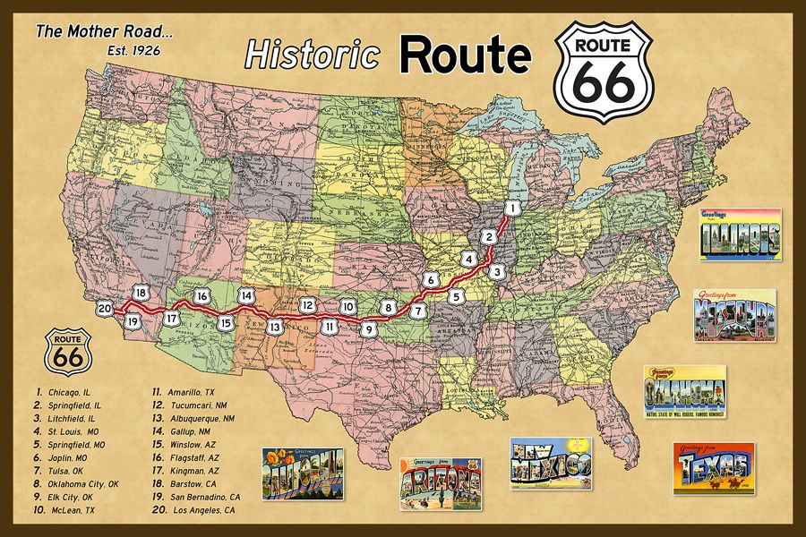 Historic Route 66 California Map.Map Of Route 66 Google Search 4 Scooter Bee Route 66 Map